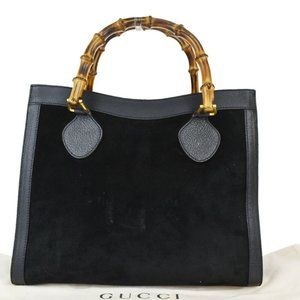 GUCCI Bamboo Tote Hand Bag Suede Leather Black Gol